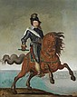 * cole FLAMANDE du XVIIe sicle Portrait de Louis XIII  cheval, en armure avec le bton de commandement