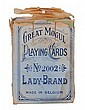 Great Mogul Playing Cards, Lady Brand No. 2002. Leonard Bierman, Turnhout, Belgium. ca. 1900. 52 + J + Extra Card + OB3. The deck is complete but is made up of three different-colored backs. It is possible that this was a salesman's sample, showing
