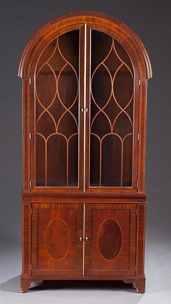 Contemporary Mahogany Bookcase with Mullion Glass Doors