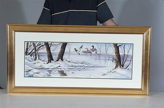 Ned Ewell, Untitled, Watercolor on Paper, Od: 20 H x 41 W Id: 10 H x 31 W