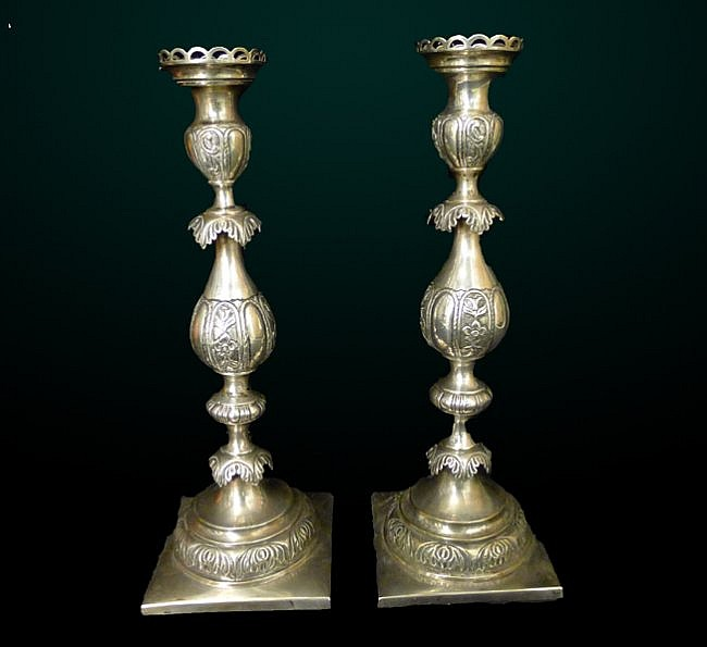 2: Pair of Russian Silver Candlesticks