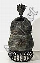 African Brass Jar with Head - II Sculpture