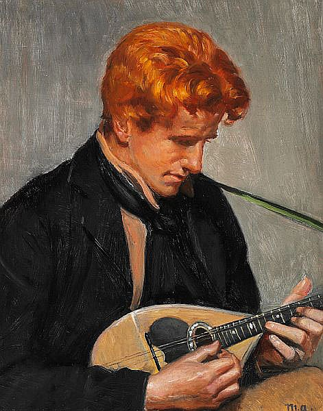 Michael Ancher: Portrait of the journalist Steen Drewsen playing mandolin. C. 1900.