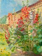 Anna Ancher: Red hollyhocks in the garden of the Ancher family's house on Markvej in Skagen.