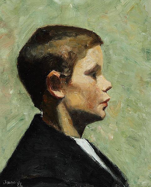 Marie Krøyer: Portrait of a little boy seen in profile.