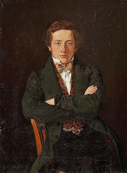 Constantin Hansen: Portrait of Martin Hammerich (1811-1881) later professor, three-quarter lenght portrait, en face