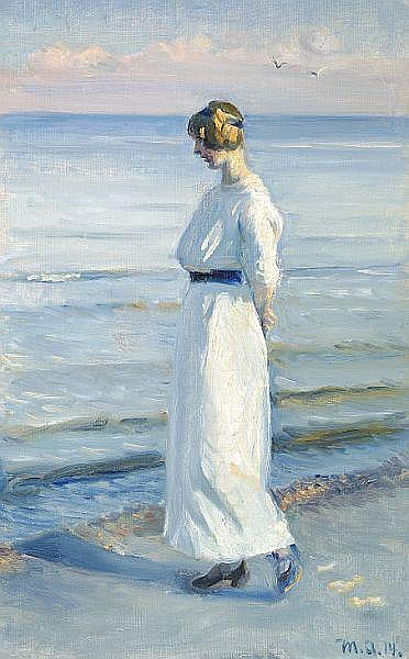 Michael Ancher: Young woman in a white dress walking on Skagen Beach.