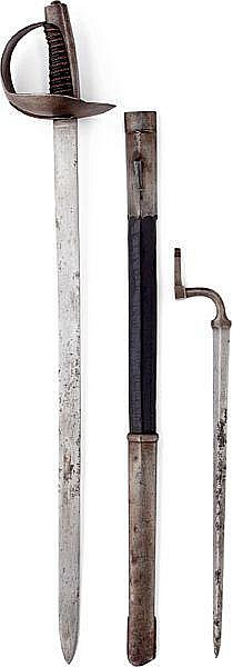 A rare Danish sabre pattern 1852 for unmounted Gendarmerie with a bayonet pattern 1852 in the scabbard.