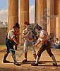 Constantin Hansen: Three Roman morra players.