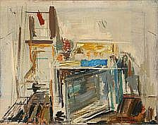 Ole Heerup: Interiør. Signed Ole Heerup 69. Oil on