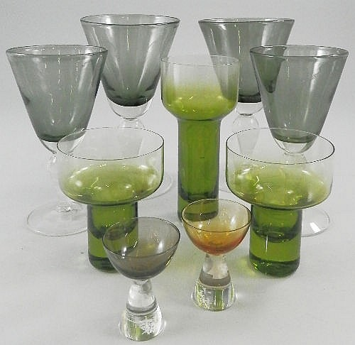 Eight tall green drinking glasses, circa 1960's,