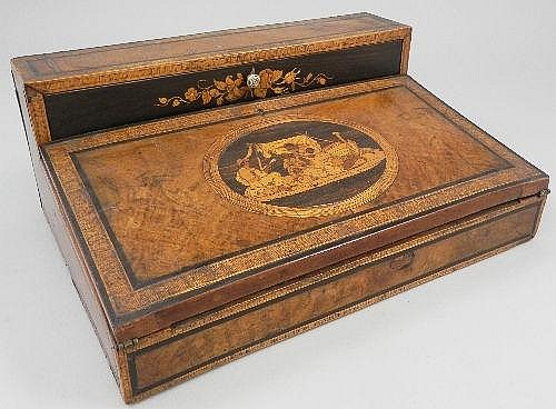 An Italian Sorrento marquetry writing slope, mid