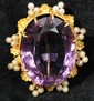Stunning 14kt. Large Sized Amethyst Brooch with Seed Pearl Accents  1 1/2