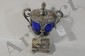 Early French Silver Covered urn with cobalt glass insert weighs 8.65 Troy Ounces without the glass insert fully hall marked and made in Paris circa 1800-1820 by maker D.G