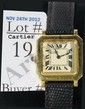 18Kt. Cartier Wrist watch with leather band, 18kt. Gold Hinged Buckle, 17 Jewel Movement, runs good