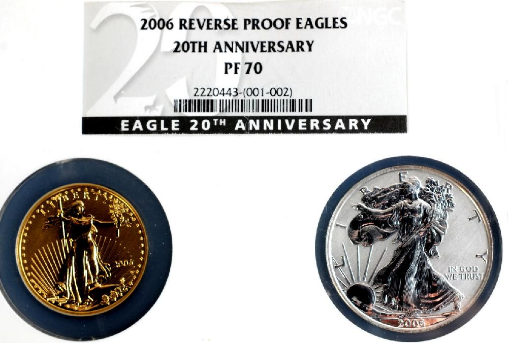2006 Reverse Proof Gold and Silver eagles set marking 20th anniversary graded Proof 70