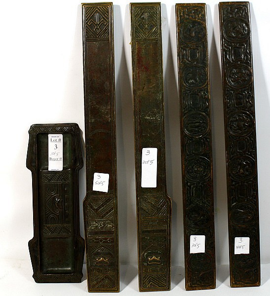 5 Pc. Lot of Tiffany Studios Bronze Desk accessories including Zodiac Pattern