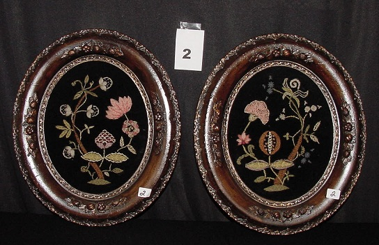 Lot of 2 Victorian Framed Crewel on Velvet Pictures