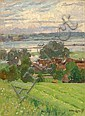 Adolf Fischer-Gurig, Dorflandschaft an der Elbe (?). 1895.