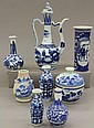 LOT OF (8) VINTAGE CHINESE BLUE AND WHITE PORCELAIN height- 5