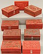 LOT OF (11) CHINESE CARVED CINNABAR BOXES circa early 20th century length- 2 1/4