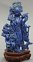 CHINESE CARVED LAPIS QUAN YINFIGUREheight- 8 1/4