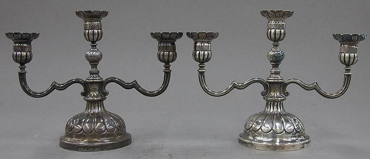 PAIR OF STERLING SILVER CANDLE HOLDERS height- 8