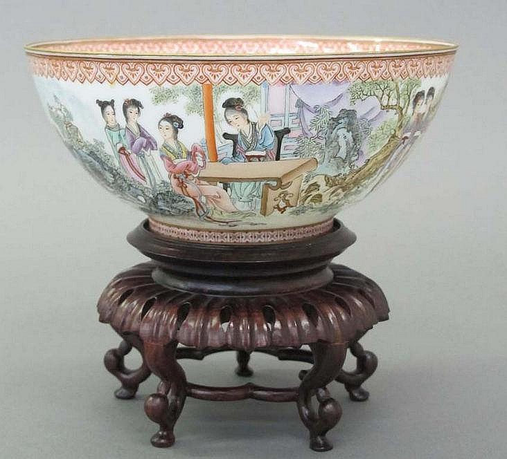 CHINESE EGGSHELL PAINTED PORCELAIN BOWL on stand