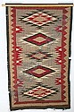 Navajo runner, attached to pole for display, 69inl, 49inw; some losses to  material.