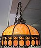 Brass Slag Glass Dome Light