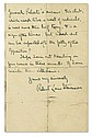 STEVENSON, ROBERT LOUIS. Autograph Letter Signed, to