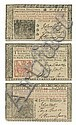 HART, JOHN. Group of 3 colonial banknotes Signed, as member of the First Provincial Congress of New Jersey,