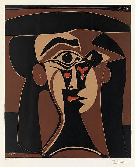 PABLO PICASSO Tte de Femme (Portrait Stylis de Jacqueline).