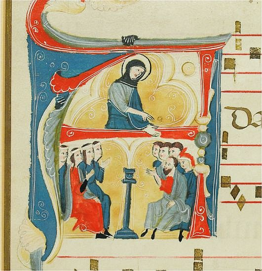 MANUSCRIPT LEAF  SAINT PREACHING.  Vellum leaf from a Latin antiphonary with illuminated initial A.  Italy, 14th century