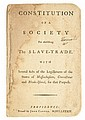 (SLAVERY AND ABOLITION--RHODE ISLAND ANTI-SLAVERY SOCIETY.) Constitution of a Society for Abolishing the Slave Trade with Several Acts