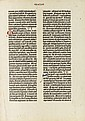 BIBLE IN LATIN.  Single leaf from a paper copy of the 42-line Bible.  Circa 1450-55.  In:  Newton, A Noble Fragment, 1921.