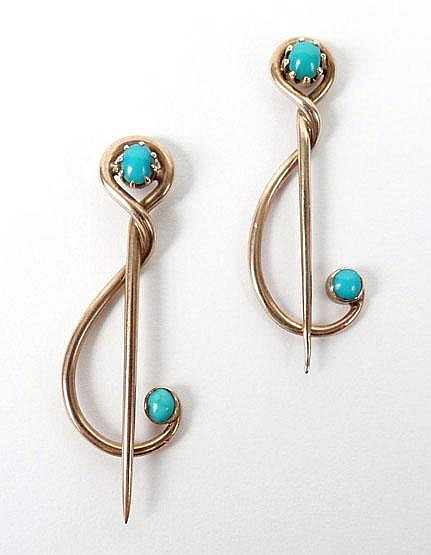 Two gold and turquoise set brooch pins by Murrle