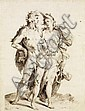 ATTRIBU  JAN MULLER (1571 - 1628) BACCHUS ET ARIANE, D&#x2019;APRS GOLTZIUS Plume et encre brune 45 X 35 CM Doubl, restaurations