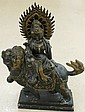 Antique Chinese Hand Carved Wood Statue Kwan Yin on a Foo Dog