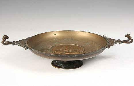 18th C Italian Bronze Tazza w/ Rare 15th C Medal