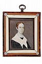 MINIATURE PORTRAIT - Early 19th c American Miniature in stippled watercolor on ivory of a young woman with red hair, white shawl, seale