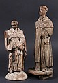 (2) EARLY SPANISH COLONIAL RELIGIOUS FIGURES - 18th c or earlier Carved Wood Santos, both probably of San Esteban, with remnants of pol