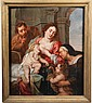 OIL ON PANEL - The Holy Family with John the Baptist and St. Anne, School of Tiepolo, Italy, mid-18th c. In ribbed gilt cove frame. SS: