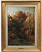 OIL ON CANVAS - Barbizon Landscape with Woman at Stream, attributed to Theodore Rousseau (French, 1812-1867), unsigned, in early gilt f