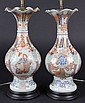 PAIR JAPANESE VASES AS ELECTRIC LAMPS - 19th c Imari Ruffle top Vases with narrow neck, bulbous body, narrow waist and broad foot, six