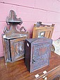 A Victorian Gothic small oak corner cupboard,