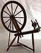19TH C. MIXED WOOD FLAX WHEEL, WORKING CONDITION,