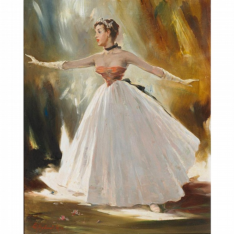 Aldo Affortunati (1906-1991), BALLERINAS IN LONG DRESSES ON STAGE, Pair of oils on canvas; each signed lower left, 20