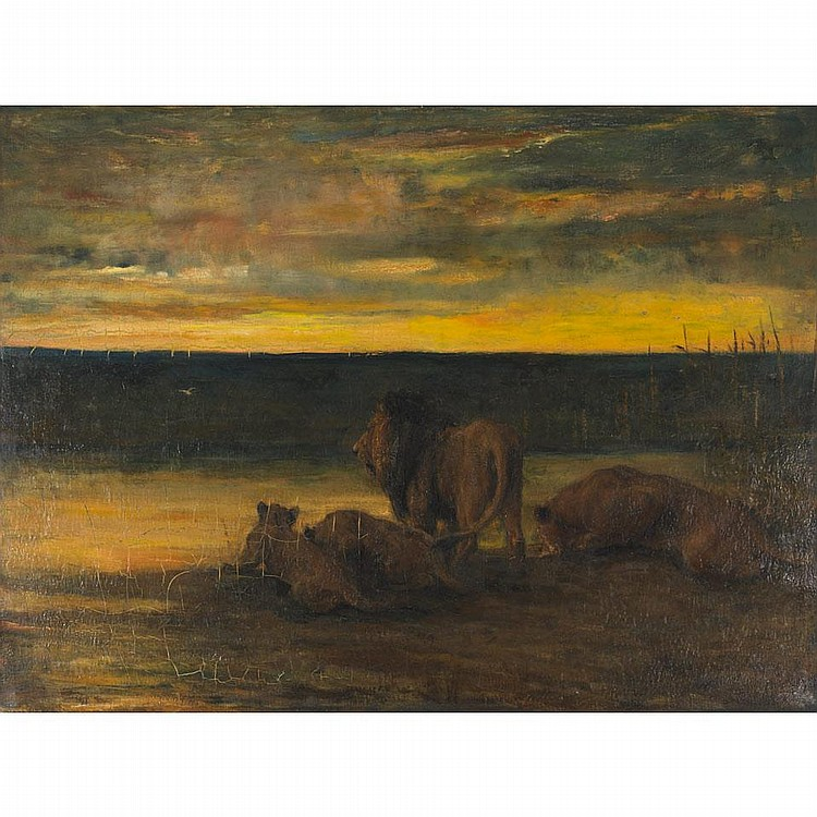 John Macallan Swan (1847-1910), British. LIONS DRINKING - SUNSET, ON THE VELDT