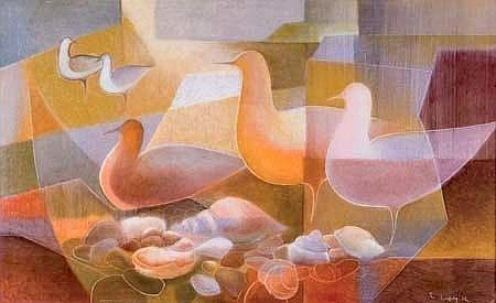 Joan Lindsay Seabirds oil on board signed and dated `72; title inscribed verso 500 x 800mm